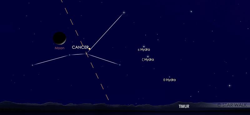 Pasangan Bulan dan Venus pada tanggal 14 September 2020 pukul 04:00WIB. Kredit: Star Walk