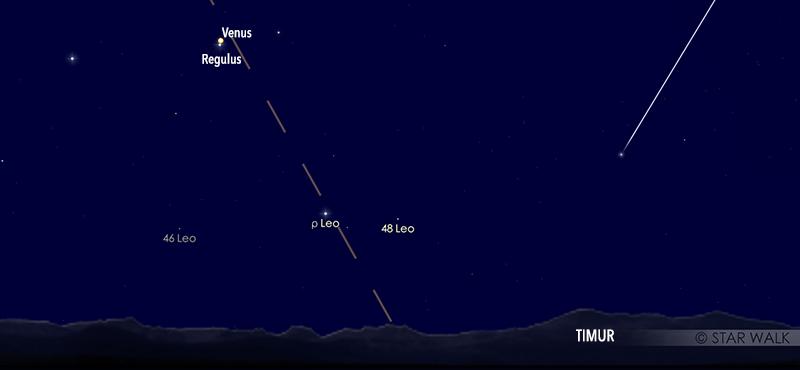 Pasangan Venus dan Regulus, bintang terang di Leo, pada tanggal 3 Oktober 2020 pukul 04:00 WIB. Kredit: Star Walk