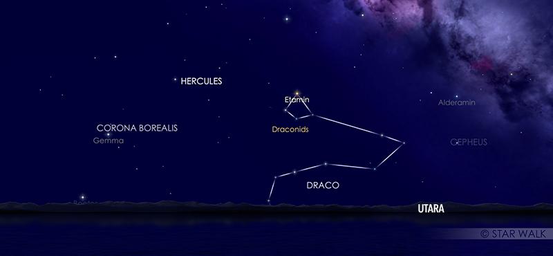 Hujan meteor Draconid 8 Oktober 2020 pukul 19:00 WIB. kredit: Star Walk