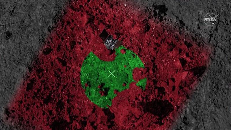 Visualisasi bagaimana Hazard Map mengidentifikasi area yang aman bagi wahana untuk melakukan TAG. Warna merah menunjukkan daerah berbahaya, warna hijau menunjukkan area yang aman. Sumber: NASA