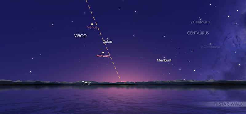 Merkurius saat mencapai titik tertinggi di langit fajar tanggal 10 November 2020 pukul 05:18 WIB. Kredit: Star Walk