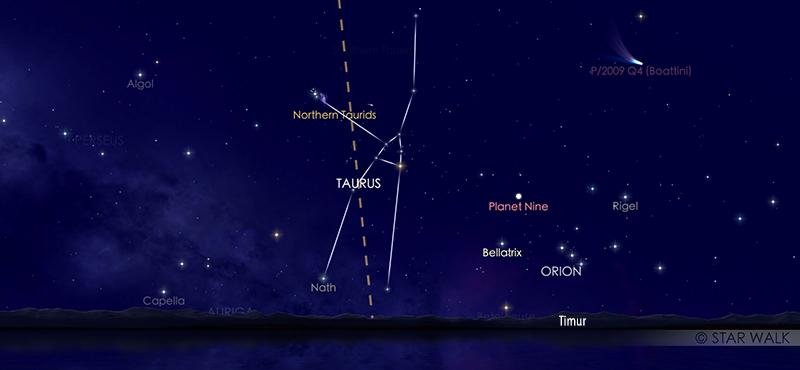 Hujan meteori Taurid Utara saat dilihat tanggal 12 November 2020 pukul 20:30 WIB. Kredit: Star Walk