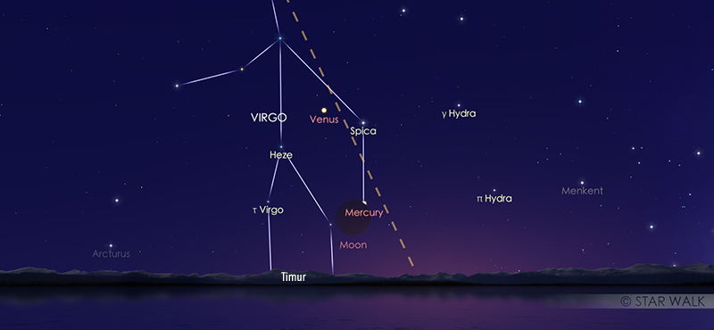 Kenampakan Bulan dan Merkurius pada tanggal 14 November 2020 pukul 05:00 WIB. Kredit: Star Walk
