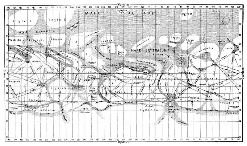 Kompilasi peta Mars yang dibuat oleh Giovanni Schiaparelli dari tahun 1877-1886. Kredit: NASA