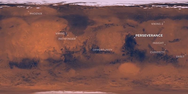 Peta lokasi penjejak maupun robot penjelajah yang dikirim NASA ke Mars. Kredit: NASA