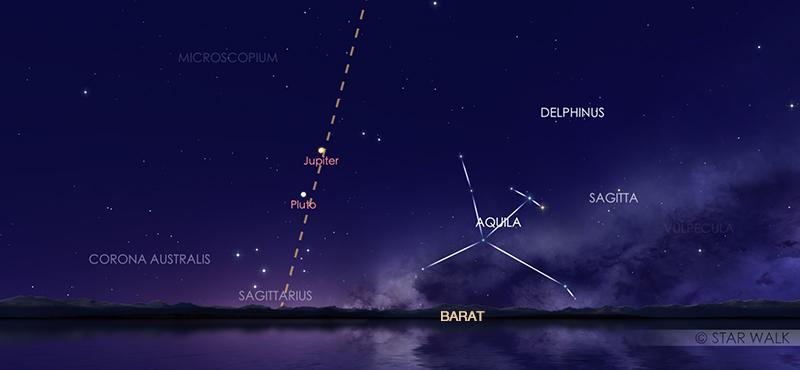 Pasangan Jupiter dan Saturnus tampak seperti bintang terang di kala senja tanggal 21 Desember 2020 pukul 18:30 WIB. Kredit: Star Walk