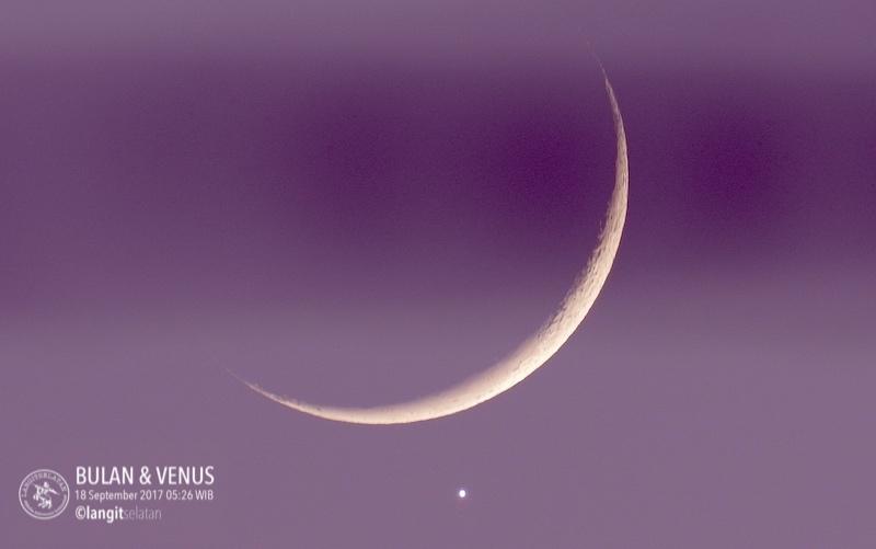 Pasangan Bulan dan Venus sebelum okultasi 18 September 2017. Kredit: langitselatan