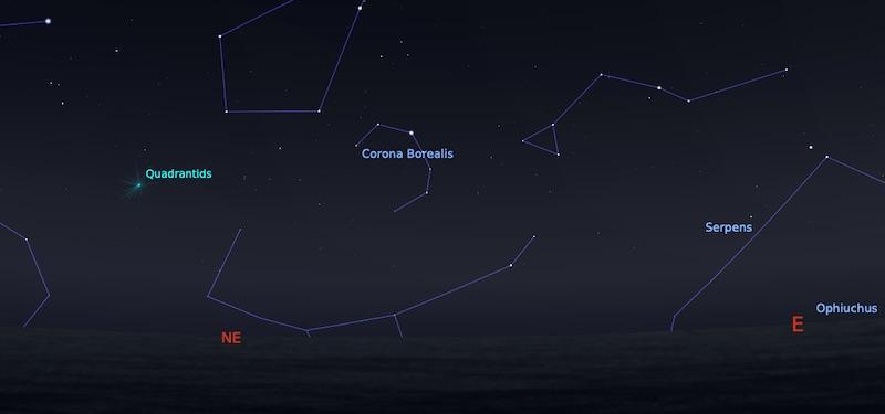 Hujan meteor Quadrantid 4 anuari 04:00 WIB. Kredit: Stellarium