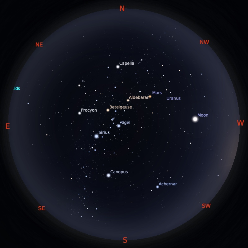 Peta Bintang 15 Februari 2021 pukul 19:00 WIB. Kredit: Stellarium