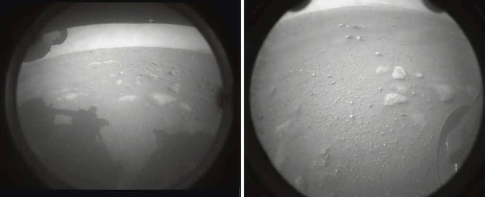 Citra pertama Perseverance setelah mendarat di Mars. Kredit: NASA/JPL-Caltech