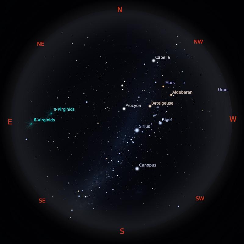 Peta Bintang 1 April 2021 pukul 19:00 WIB. Kredit: Stellarium