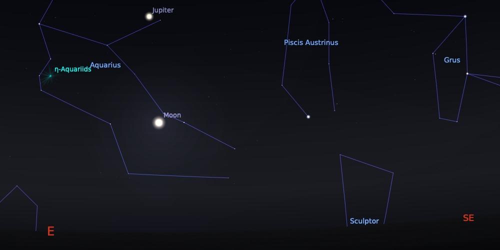 Hujan meteor Aquarid tanggal 6 Mei 2021 pukul 02:30 WIB. Kredit: Stellarium