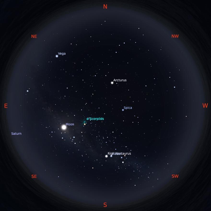 Peta Bintang 1 Mei 2021 pukul 00:00 WIB. Kredit: Stellarium