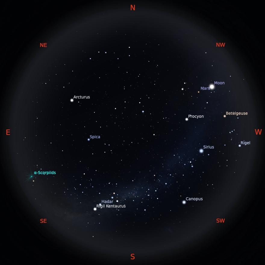 Peta Bintang 15 Mei 2021 pukul 19:00 WIB. Kredit: Stellarium