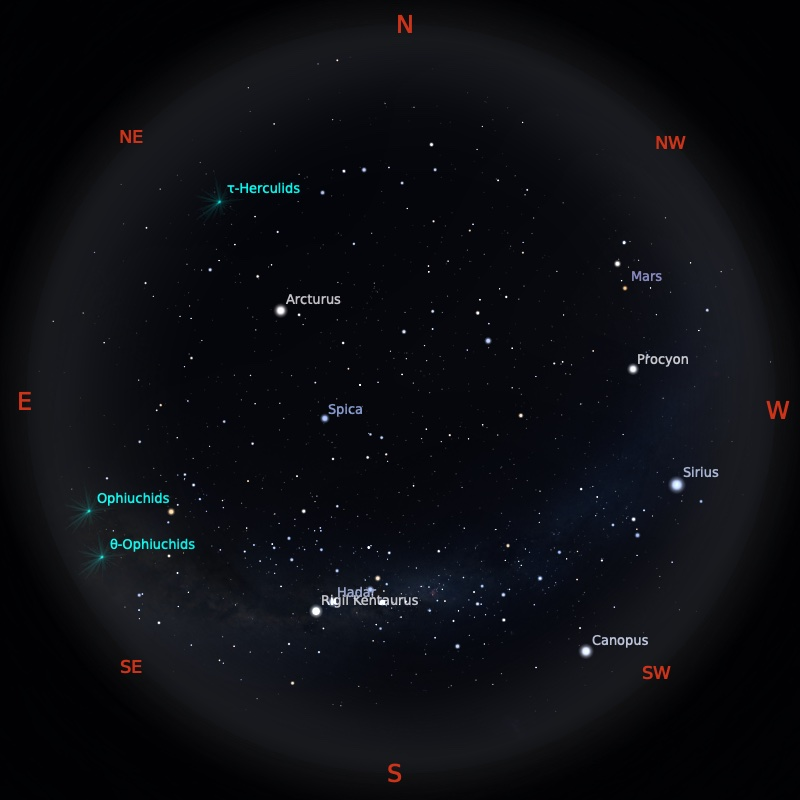 Peta Bintang 1 Juni 2021 pukul 19:00 WIB. Kredit: Stellarium