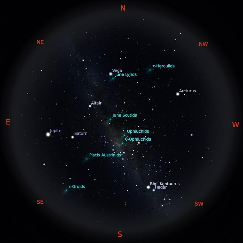Peta Bintang 15 Juni 2021 pukul 23:59 WIB. Kredit: Stellarium