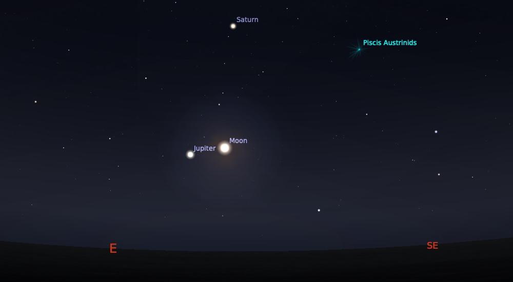 Perjumpaan Bulan Jupiter tanggal 28 Juni 2020 pada pukul 22:30 WIB. Kedua objek ini bisa diliat sampai jelang Matahari terbit. Kredit: Stellarium
