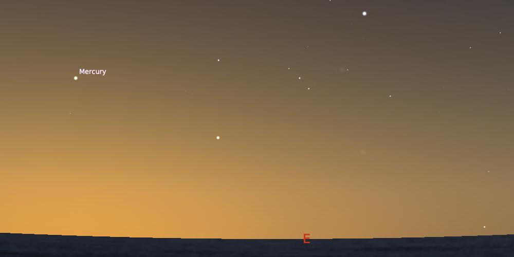 Merkurius saat mencapai elongasi barat maksimum dengan ketinggian 21,5º. Kredit: Stellarium