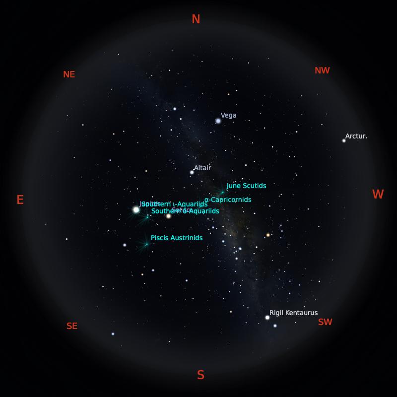 Peta Bintang 15 Juli 2021 pukul 23:59 WIB. Kredit: Stellarium