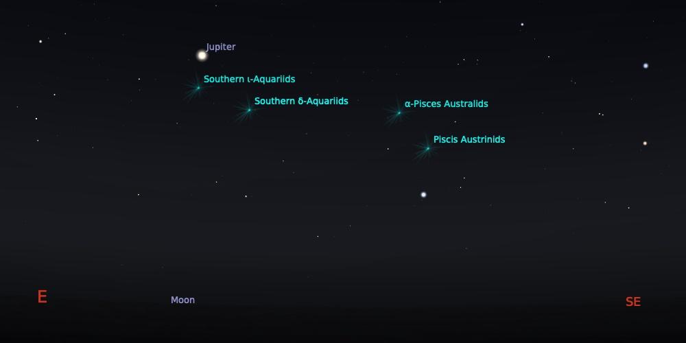 Puncak hujan meteorid Piscis Austrinid tanggal 27-28 Juli pada pukul 21:00 WIB. Kredit: Stellarium