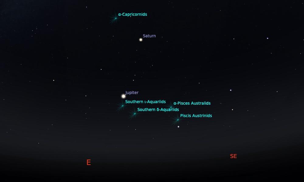 Puncak hujan meteor Delta Aquarid dan Alpha Capricornid tanggal 29 Juli pada pukul 21:00 WIB. Kredit: Stellarium