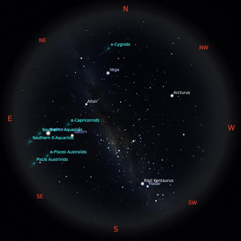Peta Bintang 6 Agustus 2021 pukul 20:30 WIB. Kredit: Stellarium