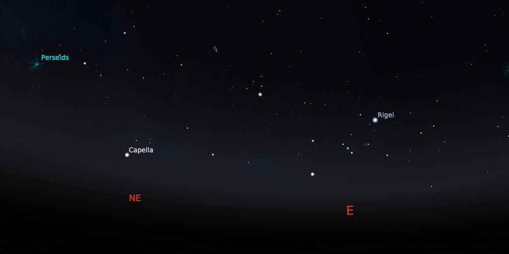 Hujan meteor Perseid tanggal 12 Agustus 2021 pukul 03:00 WIB. Kredit: Stellarium
