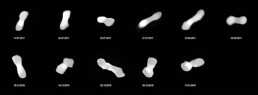Asteroid Kleopatra dalam berbagai sudut yang dipotret dari 2017 dan 2019. Kredit: ESO/Vernazza, Marchis et al./MISTRAL algorithm (ONERA/CNRS)