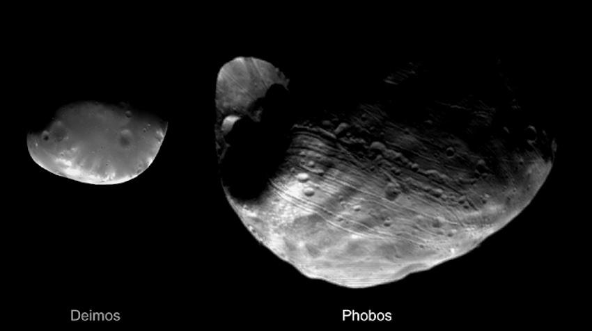 Phobos dan Deimos yang dipotret pengorbit Viking pada tahun 1977. Kredit: NASA / Viking Orbiter