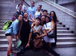 Some of the performers and choreographers of American Dance Festival Henan Summit, with Lee Choy Wan [extreme right], Henan Normal University, Xinxiang, 22 August 2014.
