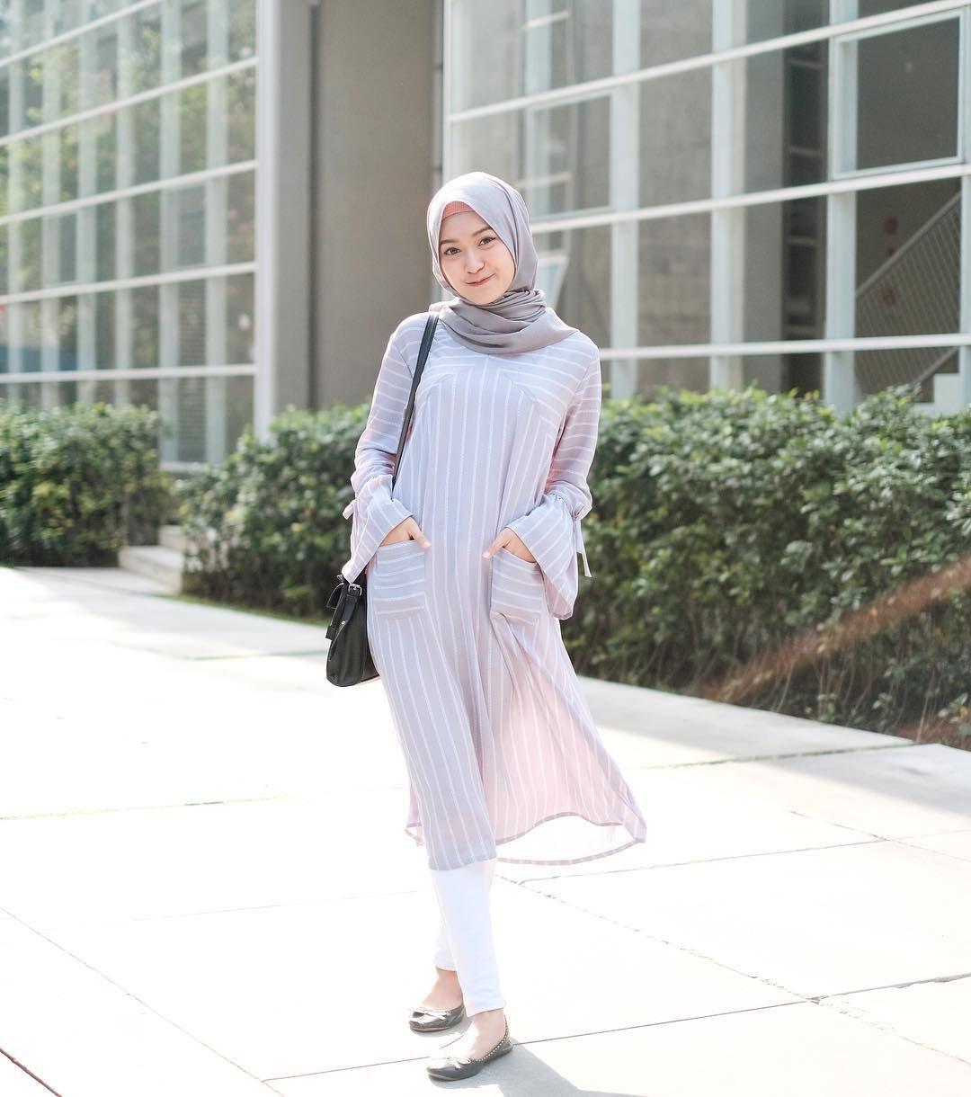 baju setelan celana hijab dengan tunik