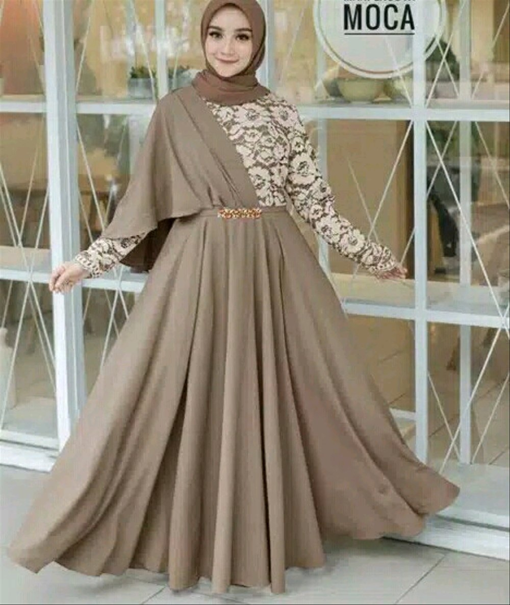Model Gaun Pesta Renda Kombinasi Sifon : Model Baju Gamis ...