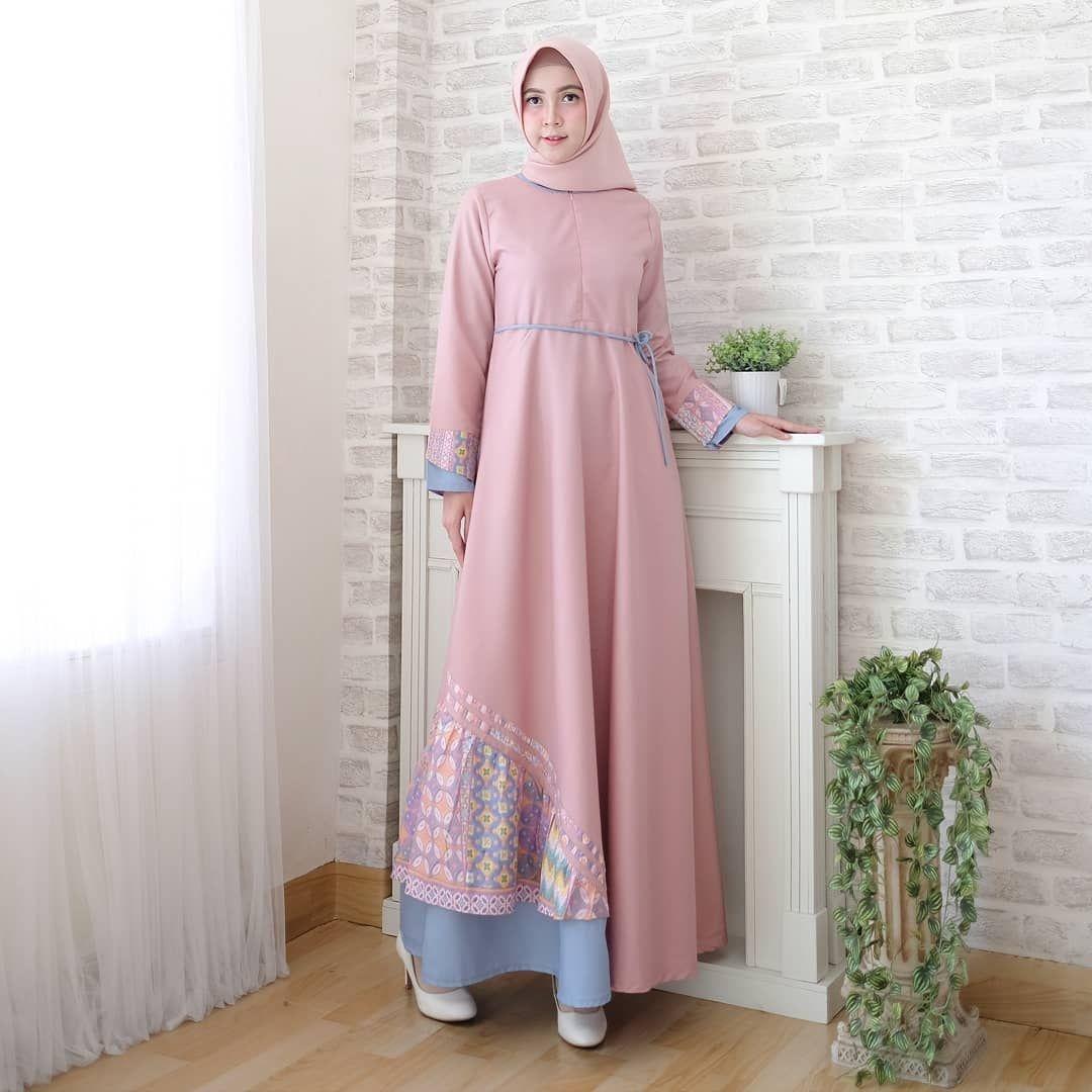 Dress simple warna dusty pink