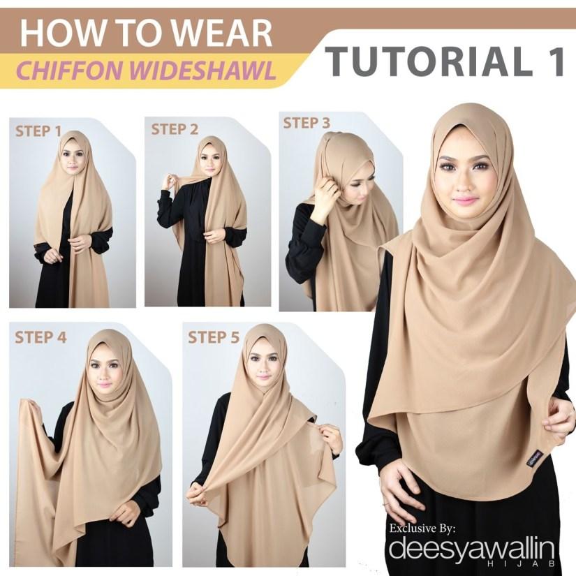 Hijab syar'i tutorial dengan chiffon wideshawl