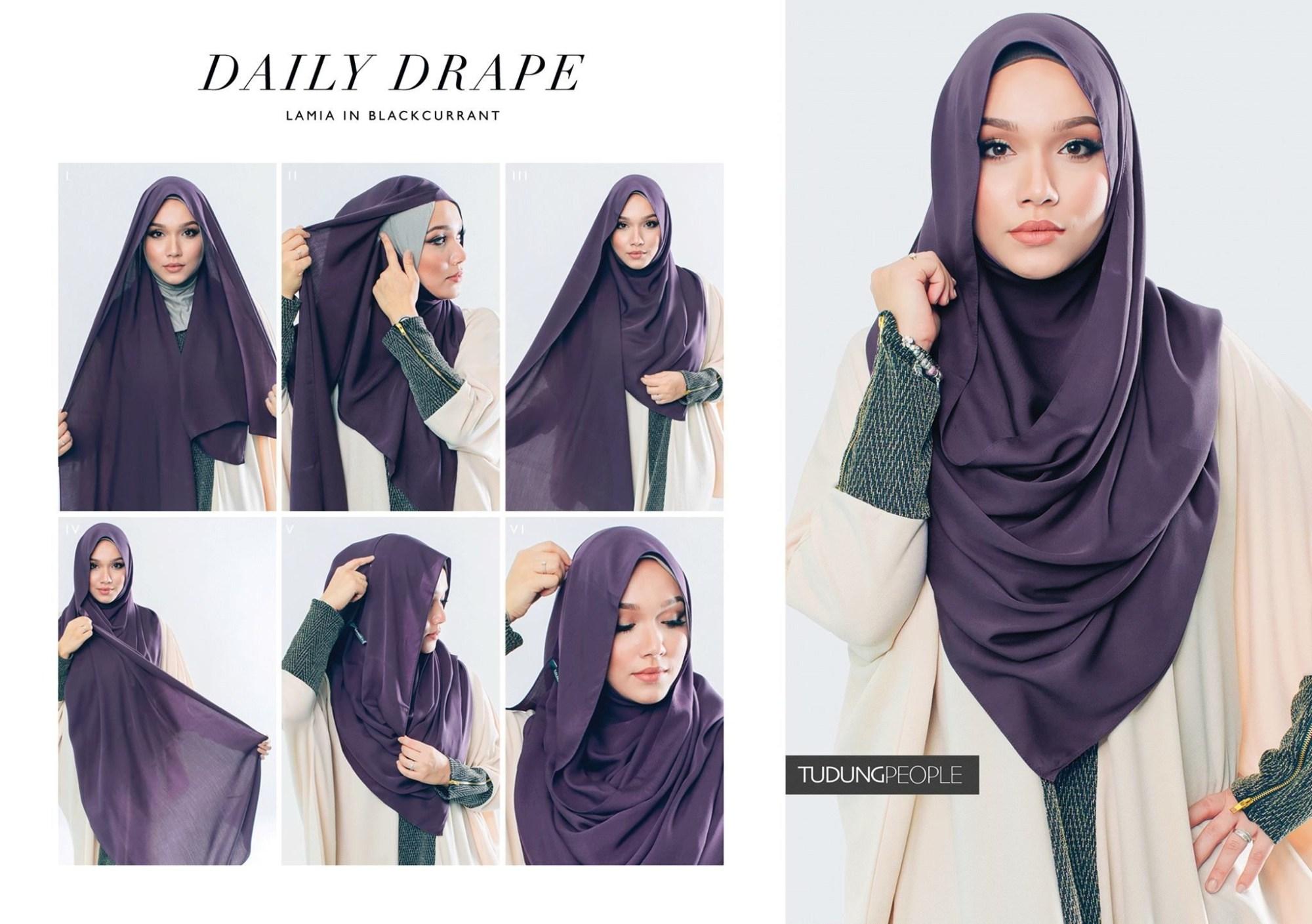 Hijab syar'i tutorial dengan cotton shawl