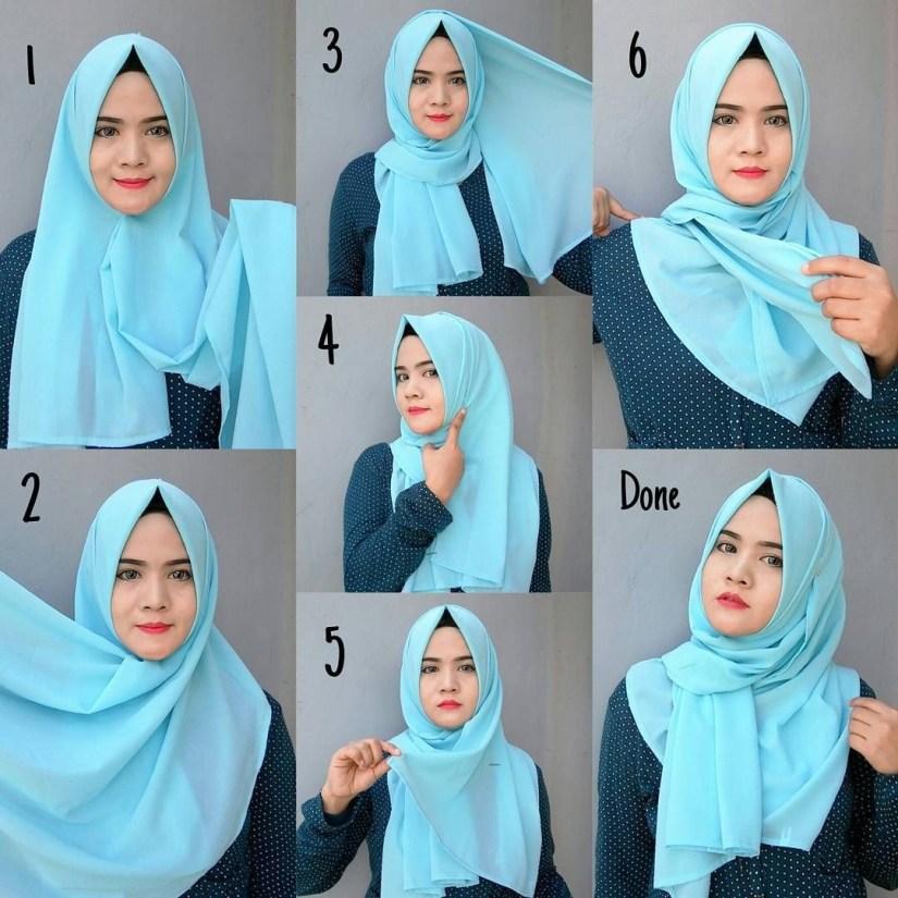Hijab syar'i tutorial dengan kreasi