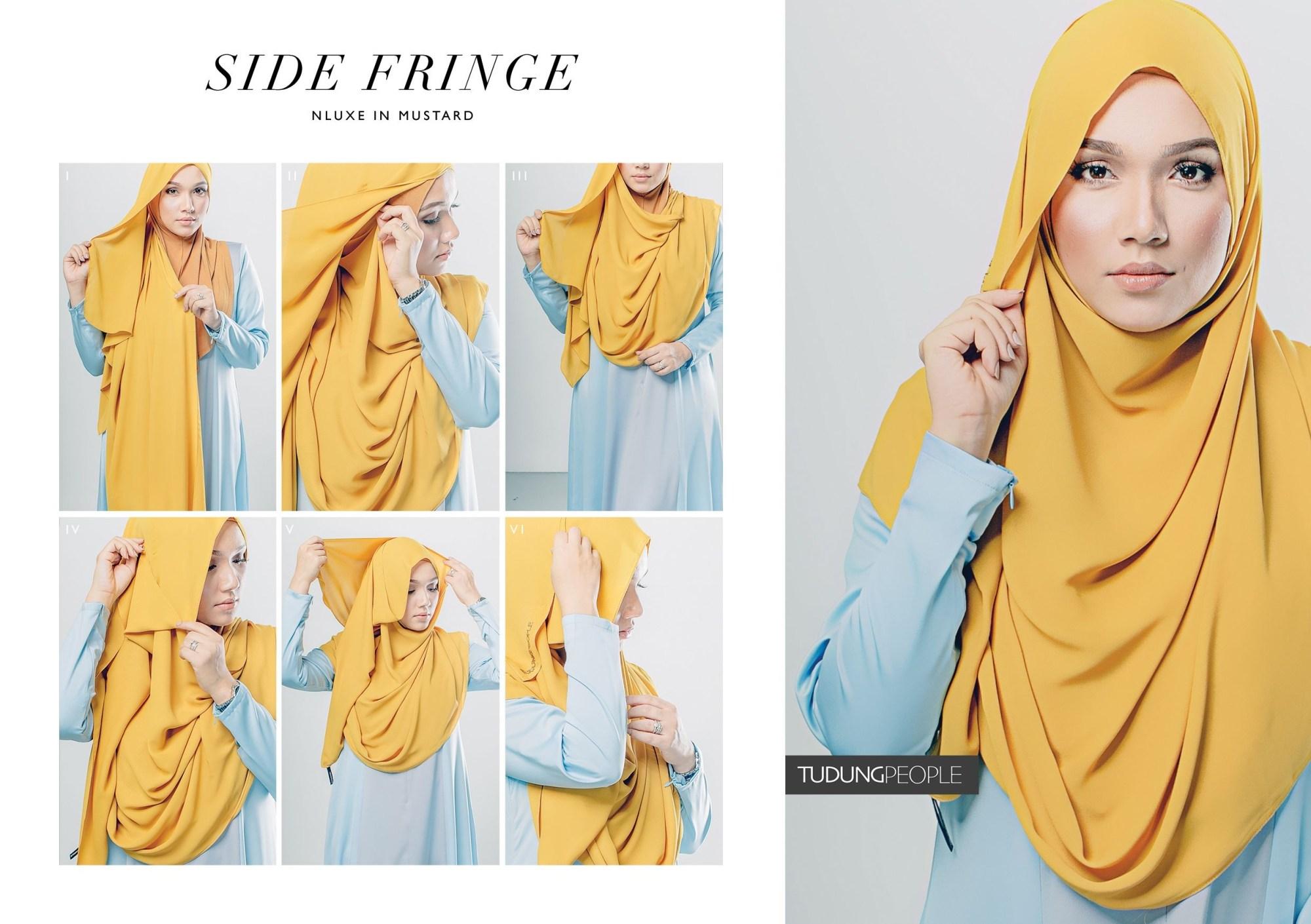 Hijab syar'i tutorial denganside fringe hijab
