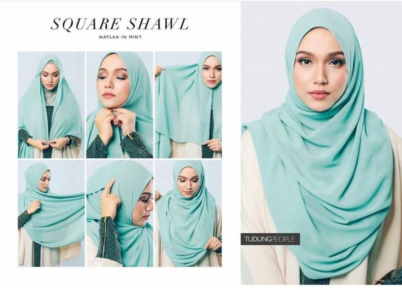 Hijab syar'i tutorial square shawl hijab