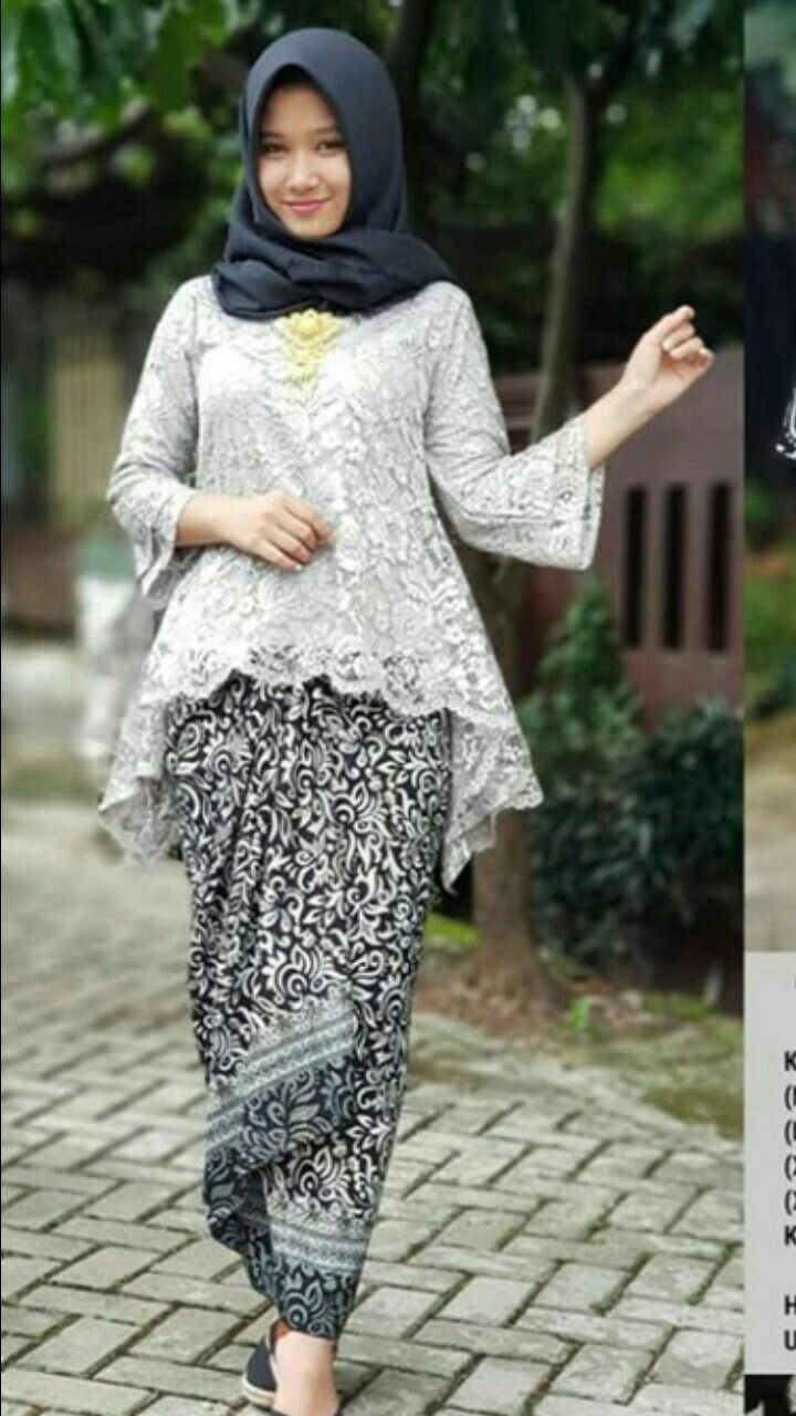 kebaya wisuda modern hijab dengan renda
