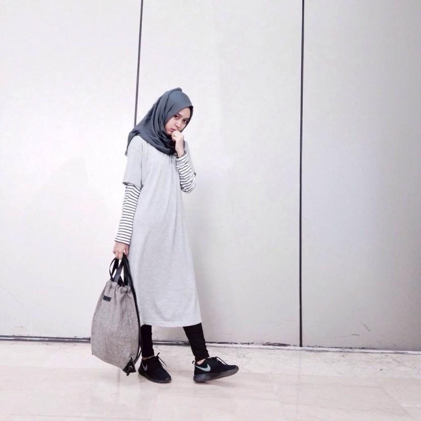 Style baju hijab simple dengan gaya kekinian