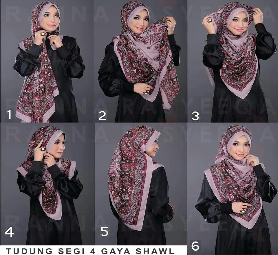 tudung segi empat gaya shawl hijab