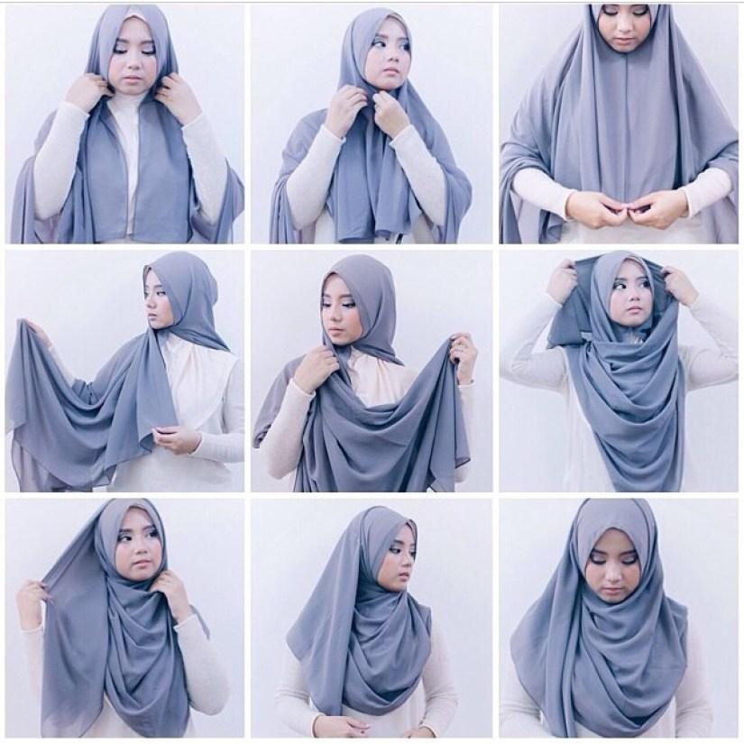 Tutorial hijab pashmina simple yang menutup dada