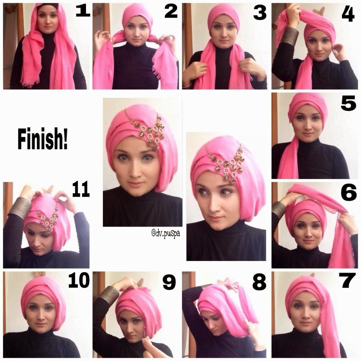 tutorial hijab segi empat dengan model cantik