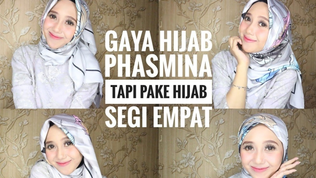 tutorial hijab segi empat gaya pashmina
