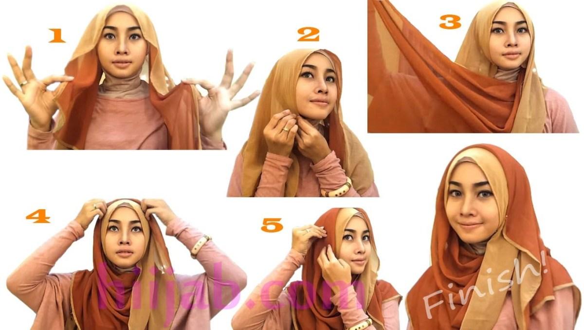 tutorial hijab segi empat kombinasi 2 warna