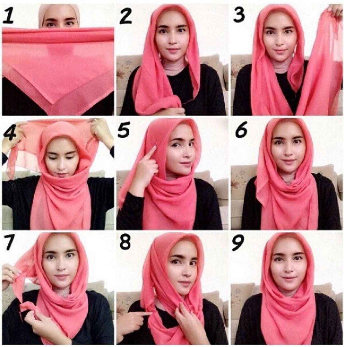 tutorial hijab segi empat kreasi