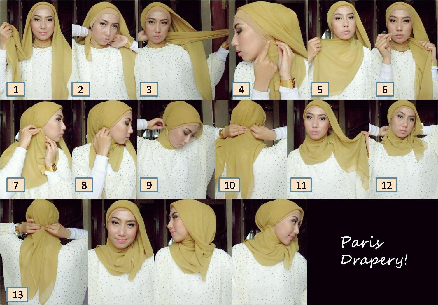 tutorial hijab segi empat untuk acara formal