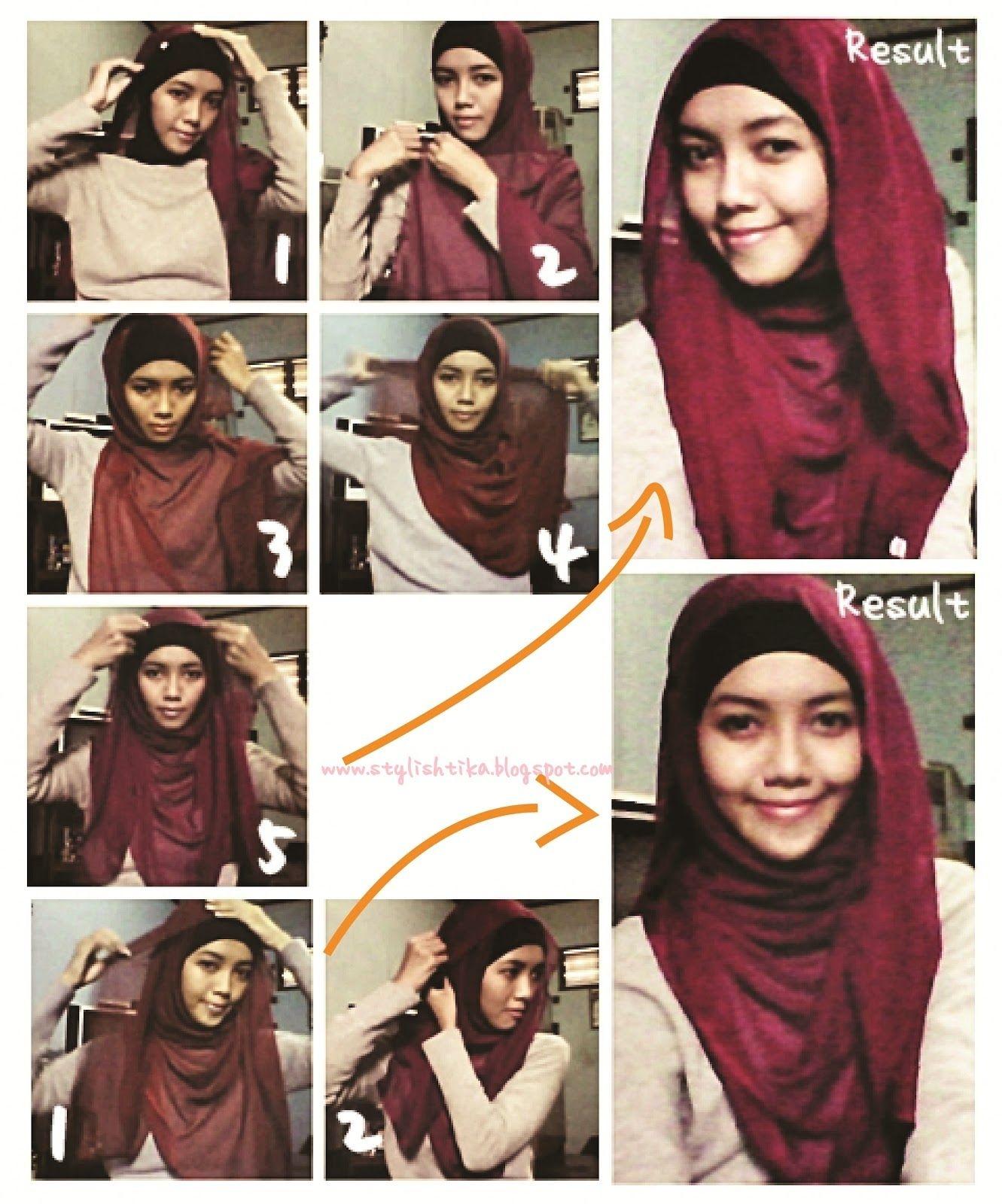 tutorial hijab segi empat untuk wajah bulat