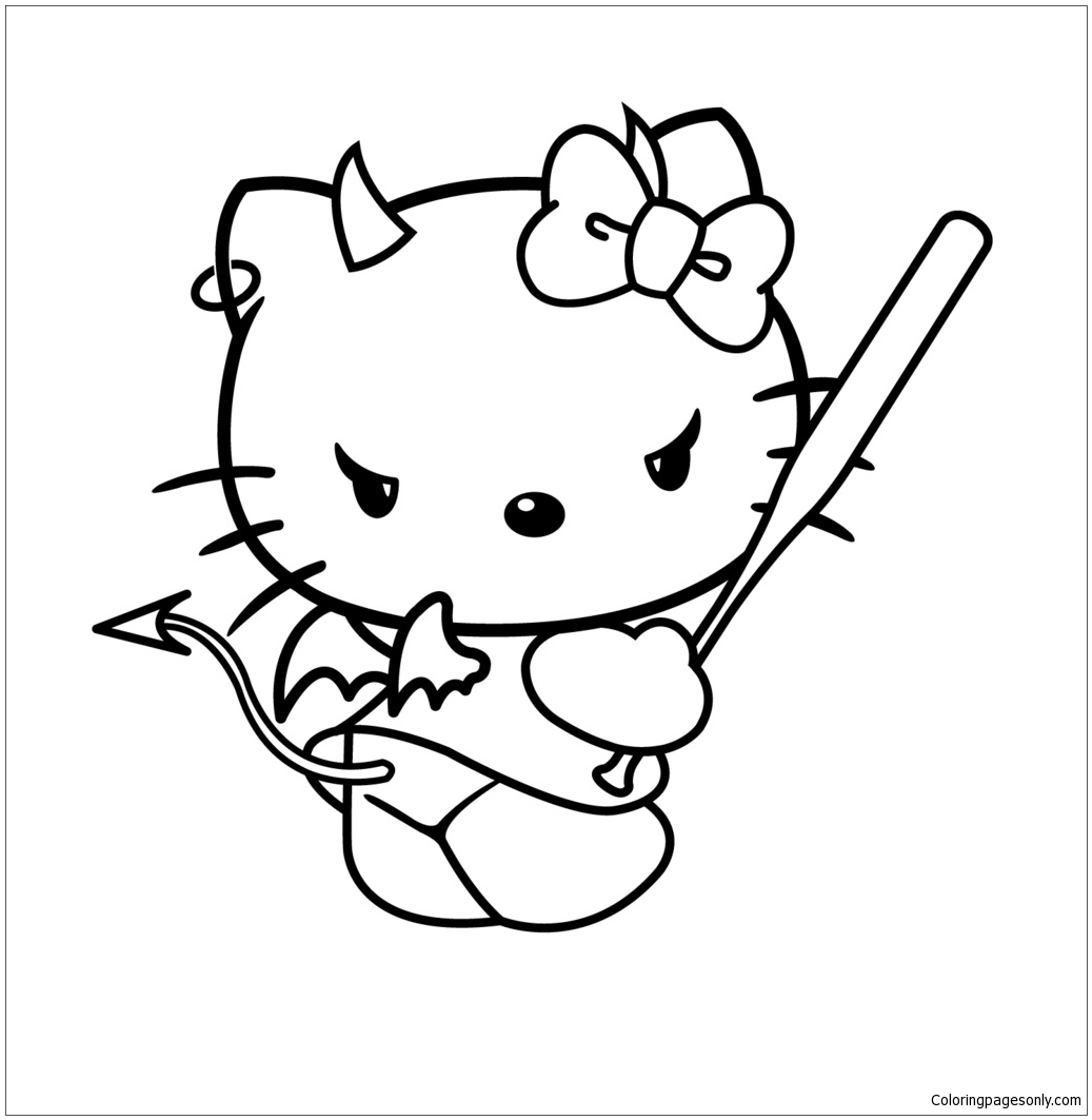 evil hello kitty coloring pages cartoons coloring pages