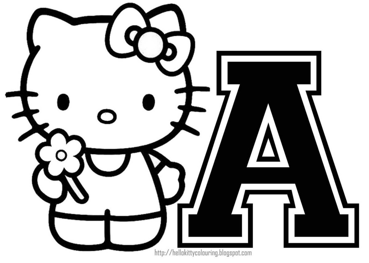 hello kitty coloring personalized coloring page initial
